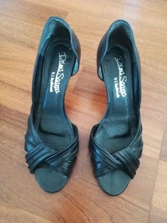 Czarne szpilki czulenka pantofle skórzane 38