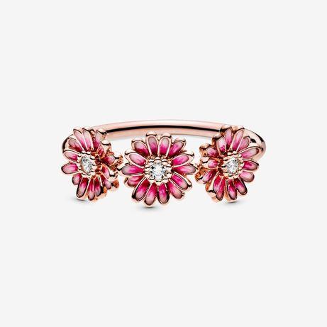 Pierścionek Trzy różowe stokrotki- Pandora
