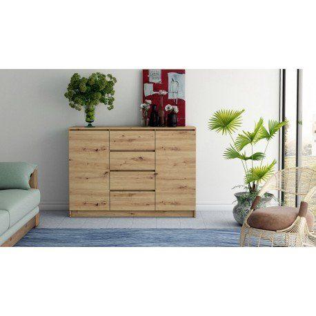 Piękna komoda BELLA DS24 dąb aristan - szuflady i półki - NOWOŚĆ