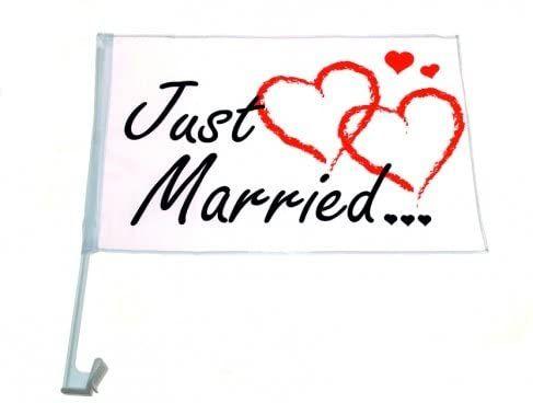 Flaga na samochód JUST MARRIED wesele nowożeńcy