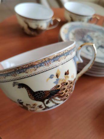 Filiżanki z podstawką, japońskie wzory porcelana 6 szt. Nowe