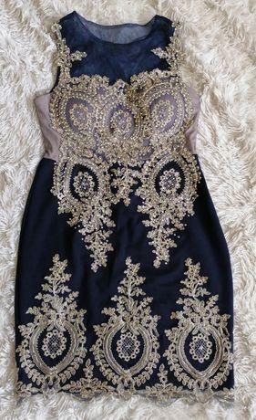 Eva&lola piękna sukienka granatowo zlota krysztalki studniówka L