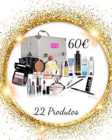 Mala para maquiagem + 22 produtos