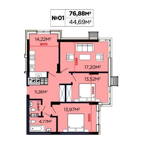 """Продаж 3 кім. квартири 75.88 м2, ЖК """"Щасливий"""" 3 черга. Вигляд на ліс"""
