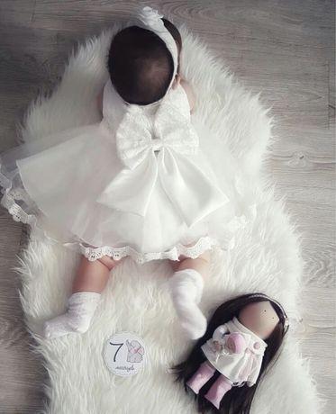 Платье на 0-3-6мес 6-12мес белое крестины крестильный крещение 68 62