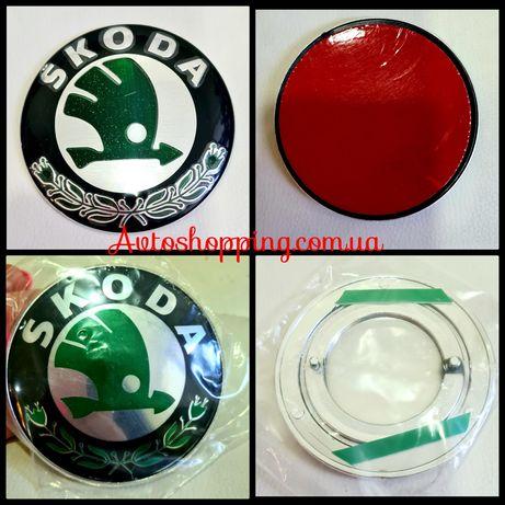 Эмблема значок на капот, багажник Skoda Шкода зеленая 78, 80 ,89 мм