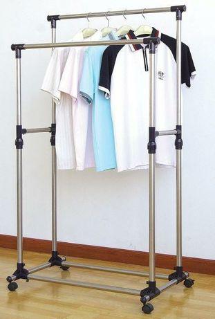 Телескопічна подвійна стійка-вішалка для одягу і взуття Double Pole Cl