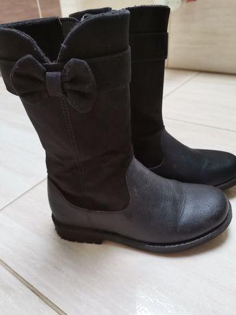 Kozaki H&M 28 czarne z kokardką na zimę
