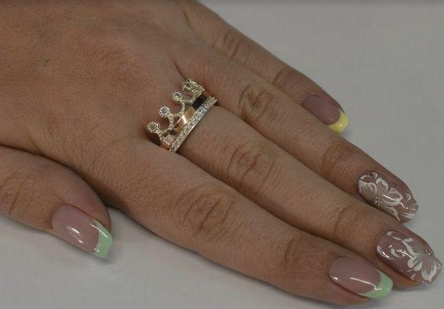 Серебряное кольцо корона с напайками из золота Арт.016к