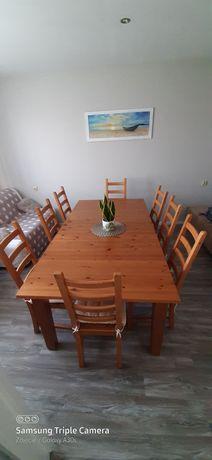 Duży drewniany stół Ikea +8 krzeseł
