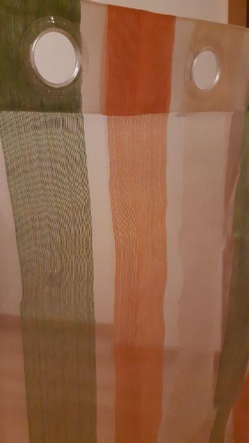 Conjunto 2 Cortinados Cores Beje, Verde e Laranja.