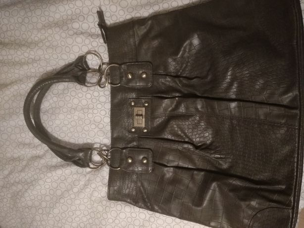 Pojemna torba damska khaki ciemny oliwkowy