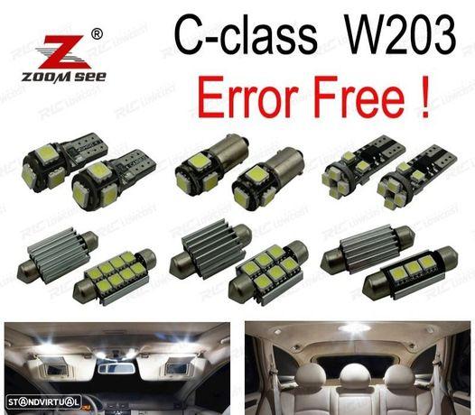 KIT COMPLETO DE 14 LÂMPADAS LED INTERIOR PARA MERCEDES-BENZ CLASE C W203 C230 C240 C280 C320 C32 AM