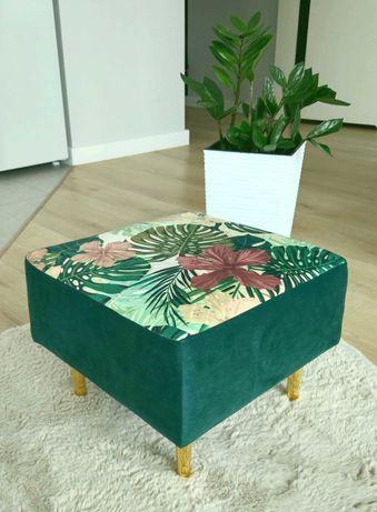 Przepiękna elegancka pufa - zieleń + monstera, złote nóżki - handmade