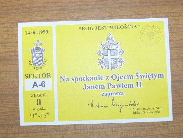 Zaproszenie na mszę św. w Sosnowcu - Jan Paweł II (dla kolekcjonera)