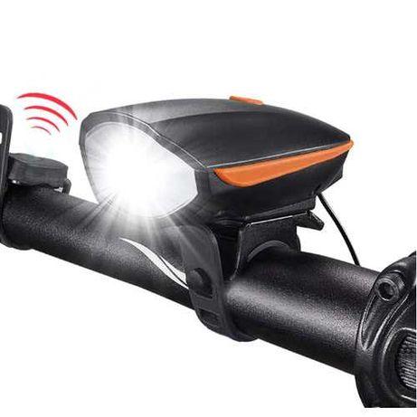 Велозвонок + фара 7588, выносная кнопка, велосипедный фонарь