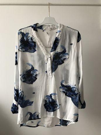 Koszula H&M bluzka w kwiaty floral tunika na lato dekolt V elegancka