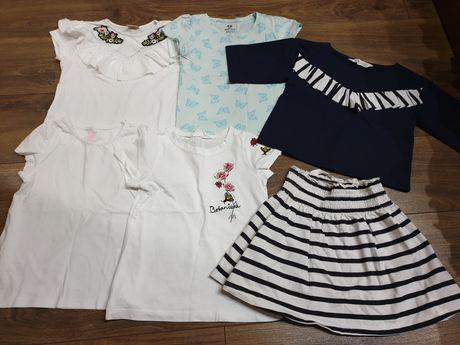 Paka koszulki białe spódnica bluzki t-shirt 110/116