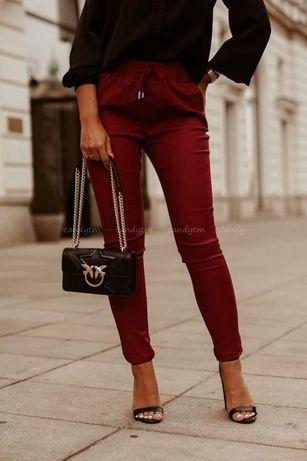 Spodnie materiałowe bawełniane w kolorze bordowym