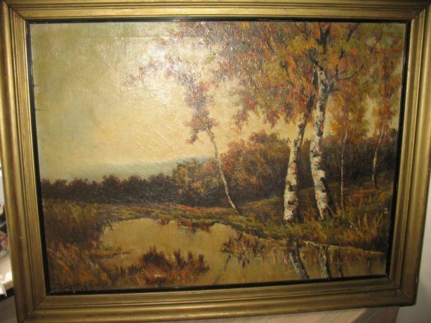 pejzaż- olejny obraz-,aukcyjny malarz Jeno Karpathy