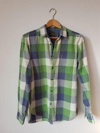 Koszula męska S w kratkę kratka H&M zielona zielony casual