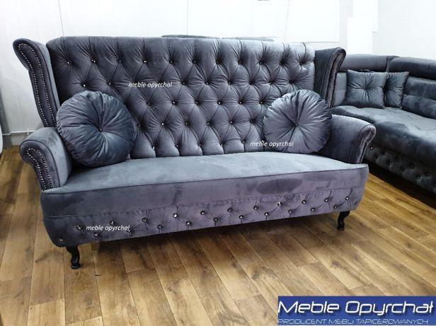 PRODUCENT sofa 3 osobowa glamour kryształki pikowana na wymiar NR.100