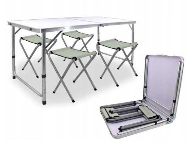 Stolik campingowy SKŁADANY z regulacją + 4 krzesła NOWY