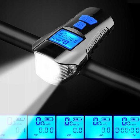 LAMPKA ROWEROWA LED przód tył z klaksonem i licznikiem zestaw rowerowy