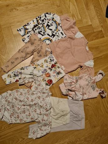 ubranka newbie next bluza legi leginsy z kokardą kwiaty róże body 80