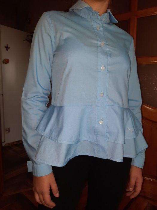 Голубая блуза с двойной баской р 152 Запоріжжя - зображення 1