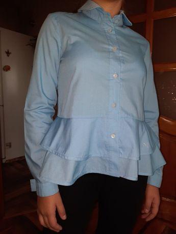 Голубая блуза с двойной баской р 152