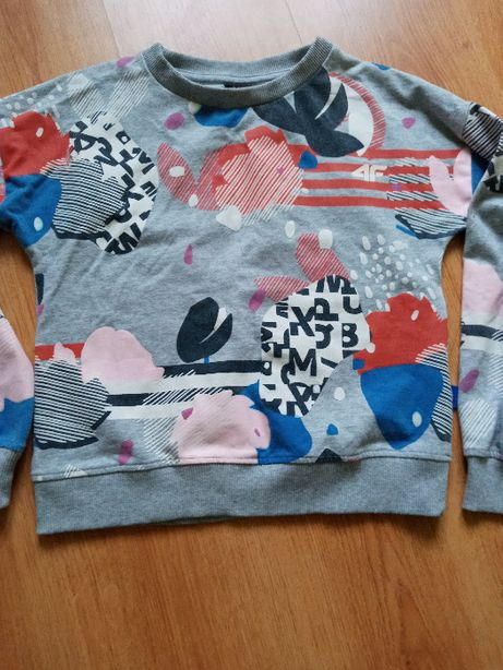 Sweter 4F 152 szary z kolorowym nadrukiem
