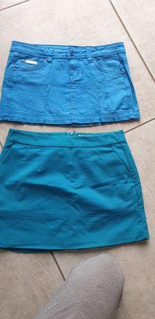 Spódniczki mini, niebieskie z kieszeniami.