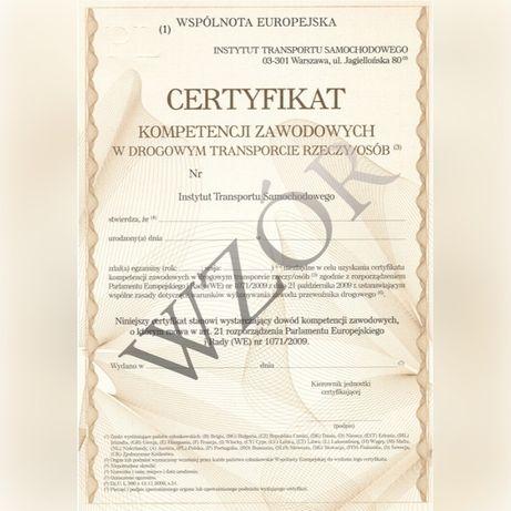 Certyfikat kompetencji zawodowych w przewozie rzeczy