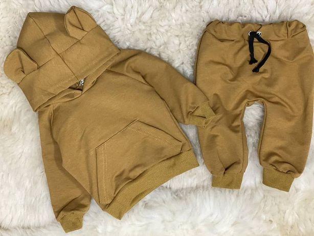 Костюм с капюшоном, с ушками, 74 рр, стильный, штаны,кофта, горчичный.