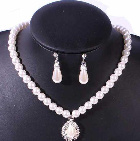 klasyczna biżuteria komplet PERŁOWE KROPLE kolia z wisiorkiem kolczyki