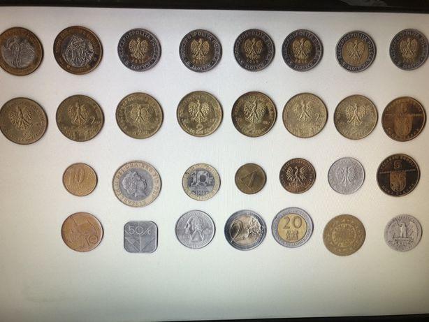 Numizmatyka kolekcja 30 starych monet, unikaty Kenia Brazylia Usa Pol