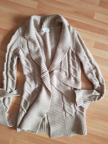 Sweter kardigan wełna długi 36/S