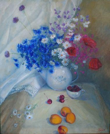 Картина′ Полевые цветы с абрикосами′ холст , масло . 60*50 см