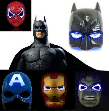 Маска светящаяся Железный Человек, Капитан Америка, Бэтмен,