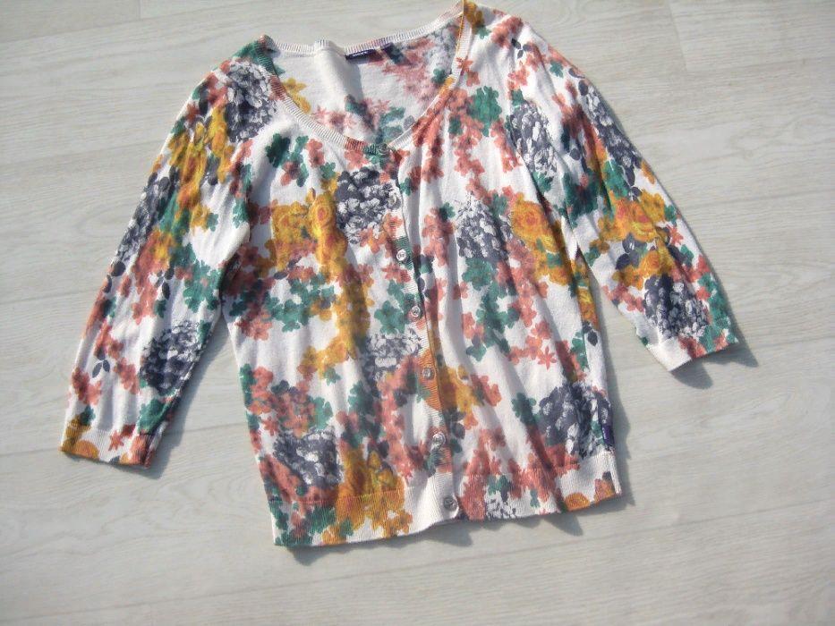 Джемпер кофта Mexx на пуговицах белая разноцветная цветочный принт M Одесса - изображение 1