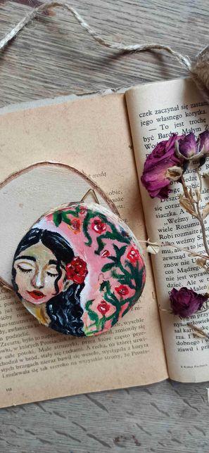 Malowane drewienko - Róża