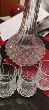 Conjunto de copos + garrafa de cristal