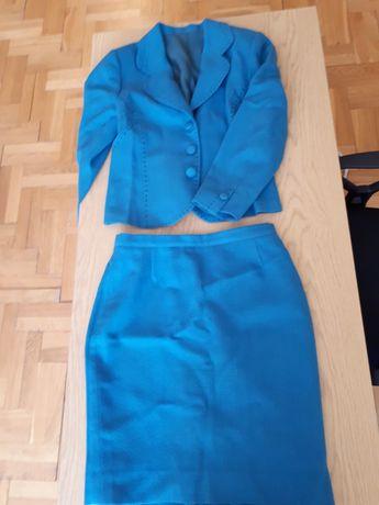 Kostium elegancki wełna kaszmir morski