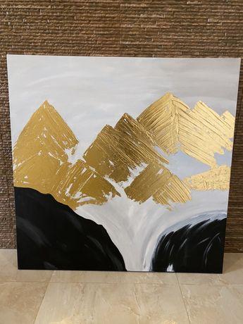 Абстракция горы, горный пейзаж, поталь ,акрил, размер 100х100