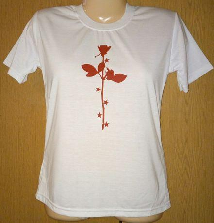 T shirt dziecięcy biały rozmiar M nadruk róża