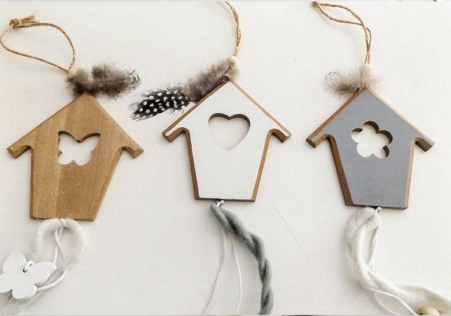 Placas decorativas em madeira trabalhada para o interior de casa 3pcs