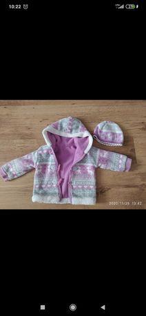 Kurtka Ciepły sweterek polar czapka gratis niemowlecy zestaw