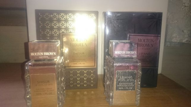 Flakony po perfumach Molton Brown, Shisur i Lijiang + pudełka