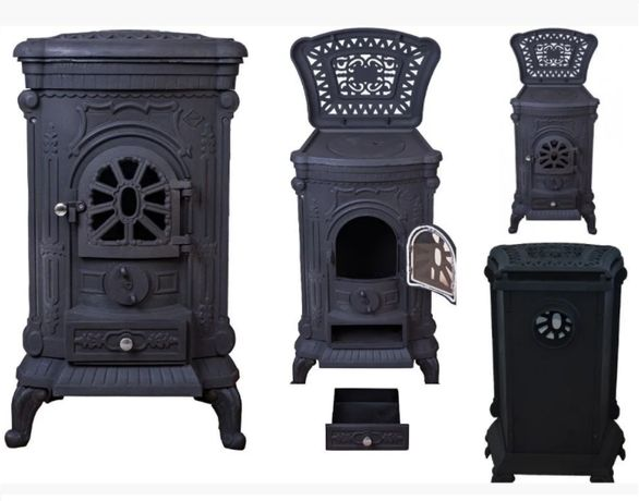 Камин печь буржуйка чугунная Bonro Black черный / двойная стенка 9 кВт